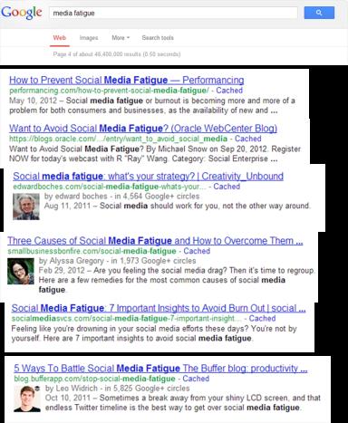 """Πηγή: Αναζήτηση στη μηχανή αναζήτησης Google στον όρο """"media fatigue"""""""